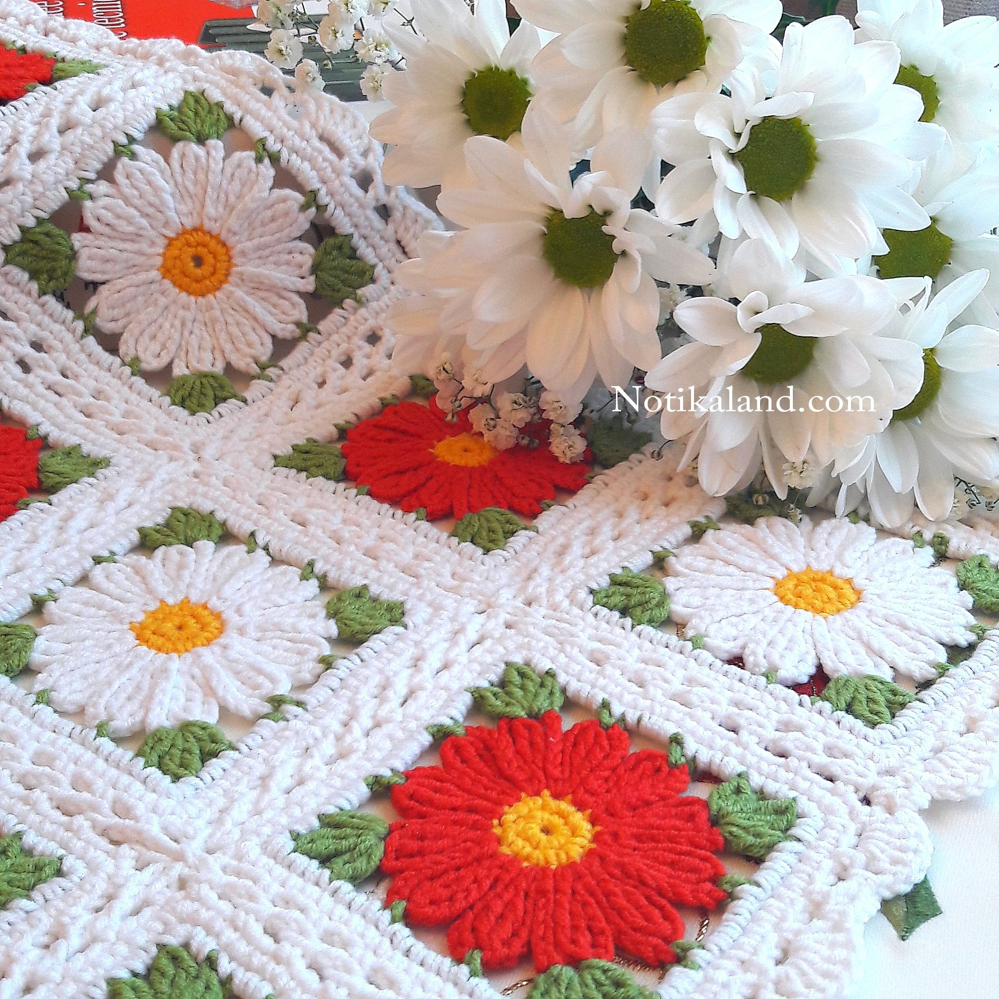 Granny square Motif, Pattern for doily, tablecloth, blanket.