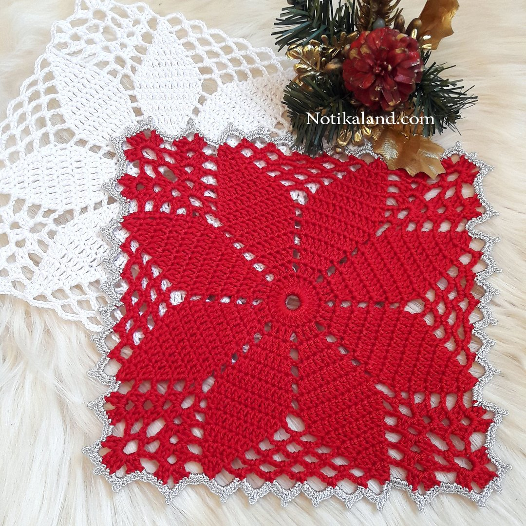 CROCHET Flower Motif. Pattern for doily, tablecloth.