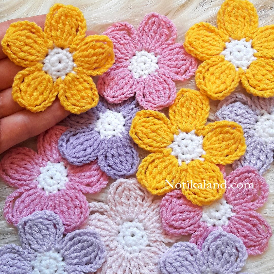 Crochet. Flower. Applique. Decor.